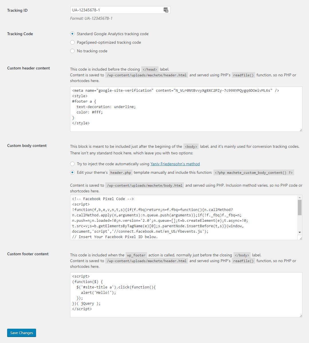 Custom code Machete module screenshot